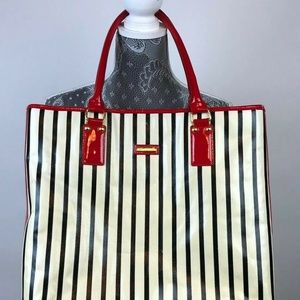 St. John Purse Stripes Red Black Patent Leather Sh